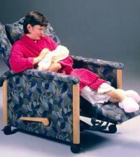 The Kangaroo recliner chair -- designed for neonatal intensive care use.