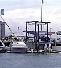 The Team Prada boat sitting on the dock in Auckland.