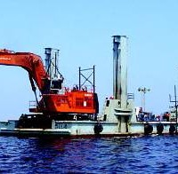 SIMA Peru S.A. designed and manufactured this steel barge with spud legs, named Leyla, which carried a 180-ton excavator to dredge an undersea canal in Pisco Bay off the Pacific coast of Loberia. SIMA used ALGOR FEA to verify and optimize the barge design. (Photograph courtesy of Pluspetrol Peru Corporation.)